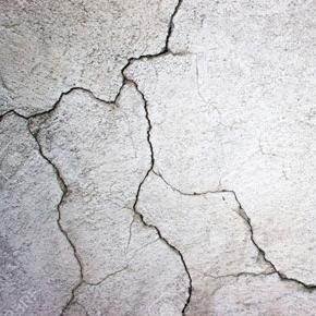 Cracks in the seawall cap