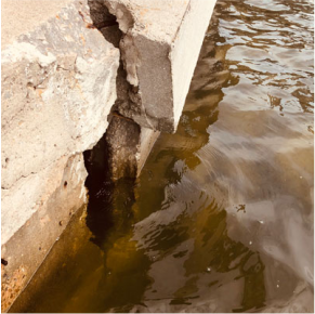 Movement of the seawall